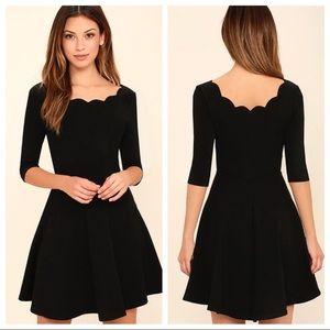 NWT Lulus Tip the Scallops Black Skater Dress
